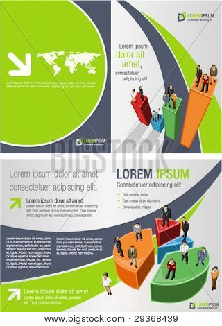 Green and blue template for advertising brochure with business people over chart