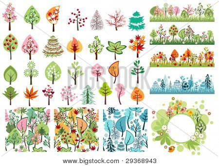 Various stylized spring,summer,autumn and winter vector trees for your design. Contains 29 different trees, 3 seamless patterns, 4 seamless horizontal borders and one blank frame.
