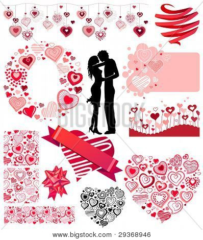 Big Saint Valentine's collection of different hearts and couple. Contains two seamless patterns and three seamless borders,