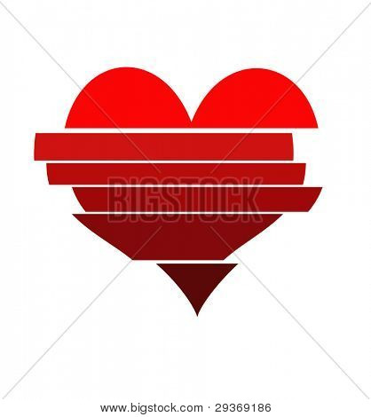Graphic art of a staggered sliced up heart shape in various tones of red