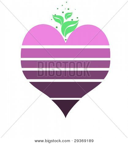 Staggered heart shape in various tones of purple
