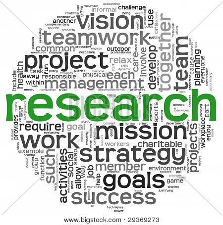 Research and strategy concept in word tag cloud on white background