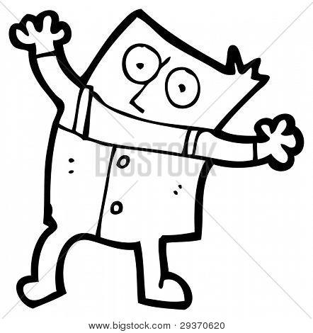 dancing square cartoon man (raster version)