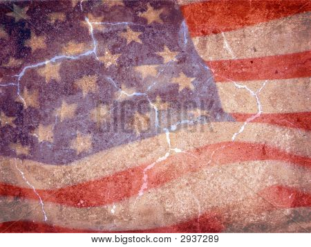 American Flag On Grunge Background