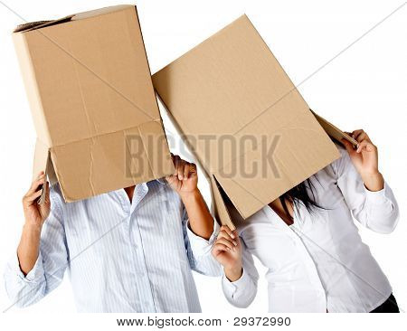 People with cardboard boxes on their heads simulating a crazy moving - isolated