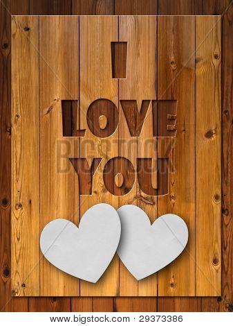I Love You Letter Carved Wood