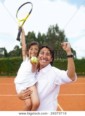 Father proud of her daughter winning a tennis match