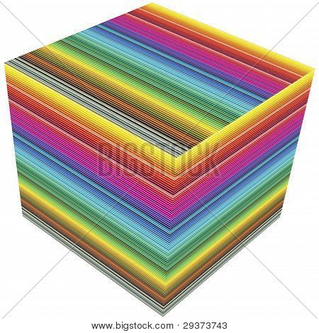 3D cube in rainbow colors