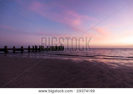Jetty at southern beach of North Frisian island Föhr