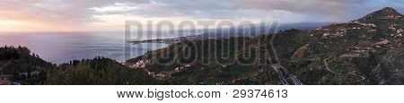 Dawn panorama of Taormina Bay in Sicily, Italy