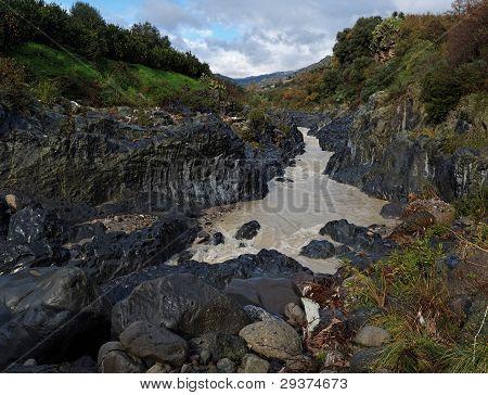 Alcantara river gorge in Sicily Italy