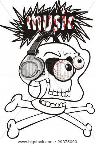 listening to loud music - skull