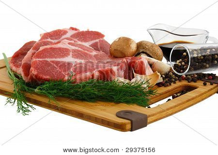 Raw Steak With Mushrooms Dill And Spices