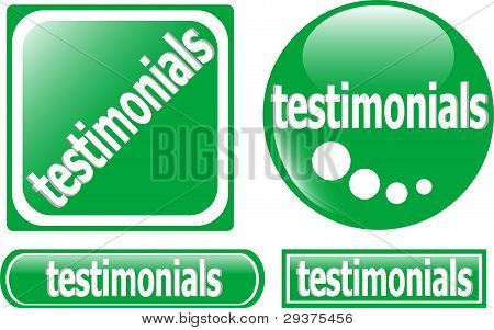 Testimonials button green set