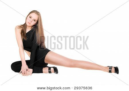 Attractive Young Woman In A Black Tight-fitting Body Suit Dance