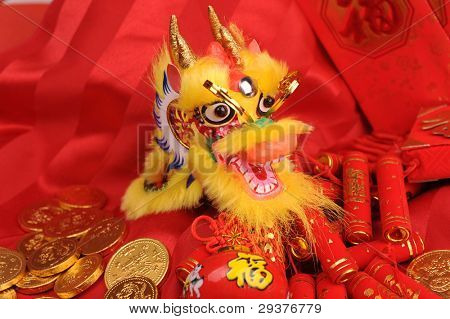 Chinese New Year Ornaments--Traditional Dancing Dragon,golden coin and Money Red Packet,red firecracker