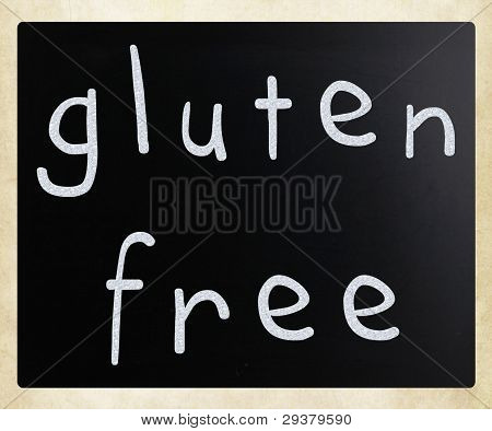 Gluten Free Diet Concept - Handwritten With White Chalk On A Blackboard