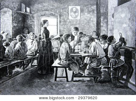 Rural school. Engraving by Shyubler from picture by painter Kiselyov. Published in magazine