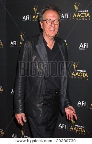 LOS ANGELES - JAN 27:  Geoffrey Rush arrives at the AUSTRALIAN ACADEMY INTERNATIONAL AWARDS at Soho House on January 27, 2012 in West Hollywood, CA