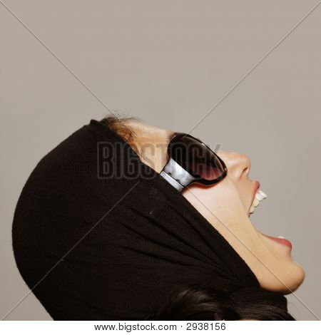Woman Screaming And Looking Up