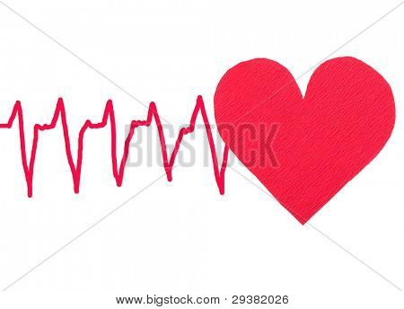 Red heart with ECG