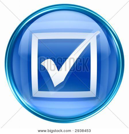 Verifique o ícone azul, isolado no fundo branco.