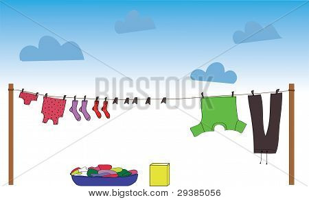 Different Clothes Which Dries On A Rope