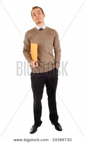 Smiling man with a post package