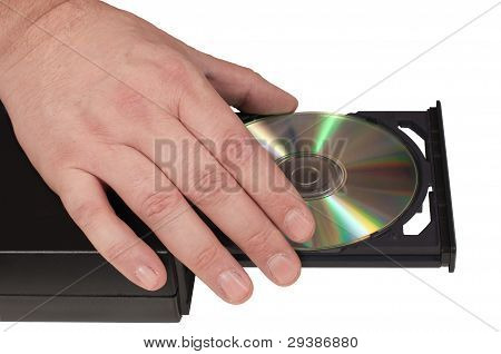 Hand Placing A Cd In A Drive Tray (2/3)