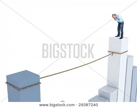 businessman on 3d financial chart look the rope