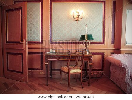 Antique desk in a luxury hotel room