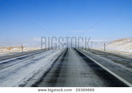Blowing Snow On Highway