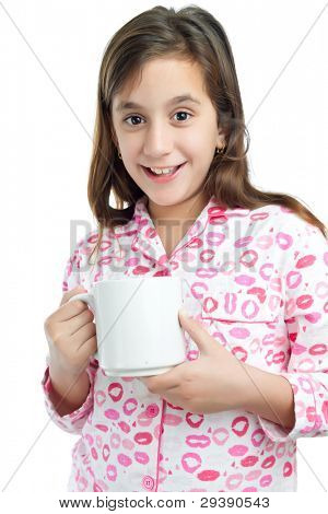 Beautiful hispanic girl wearing pajamas and holding a cup with her breakfast isolated on white