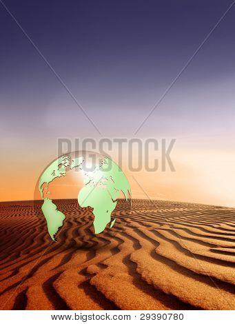 Calentamiento del paisaje desértico del concepto - cambio climático - y globo con fondo de naturaleza