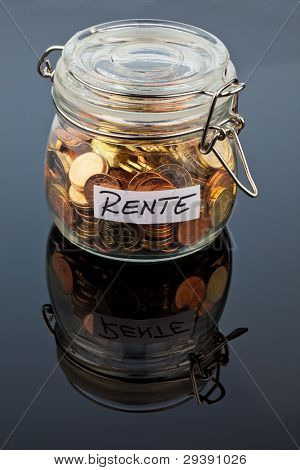 a jar of coins for the later pension age. supplementing this pension