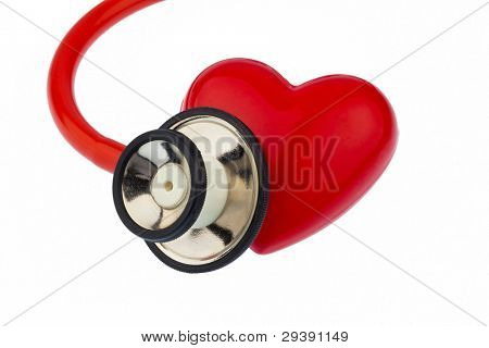 a stethoscope and a heart on a white background. prevention of heart disease