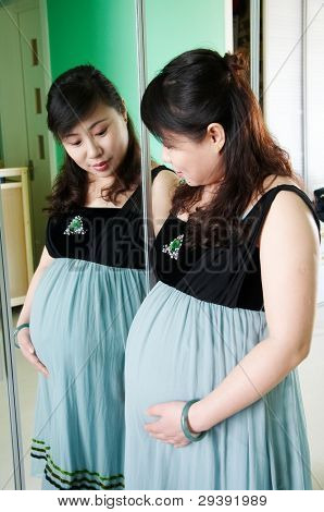 pregnant woman standing in front of mirror.