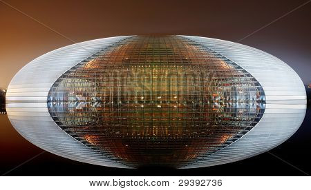 August 2008, Beijing, China, china national grand theater. The theater is one of the most famous building in beijing. The egg-shaped architecture is located on a lake.