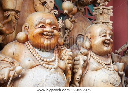 Wooden buddha statue,Beijing China
