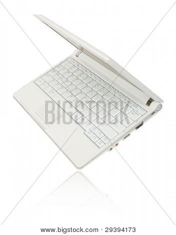 a white laptop with reflection isolated on white background.
