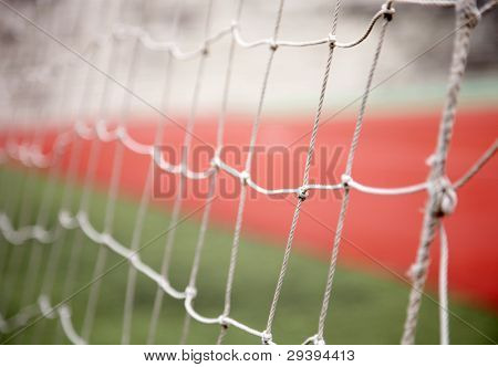 Close-up of sports goal net, focus on net.