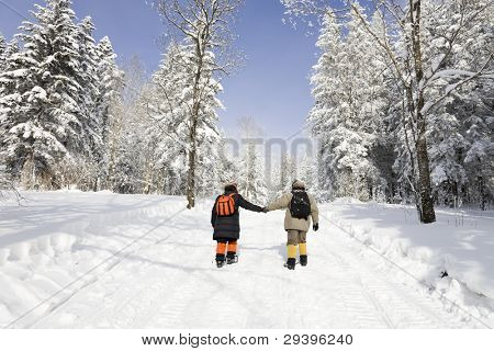 Hiking in snowy forest