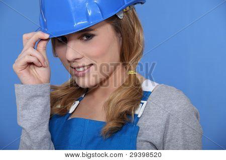 female builder smiling