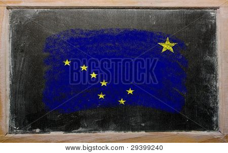 Flag Of Us State Of Alaska On Blackboard Painted With Chalk