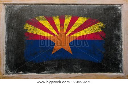 Flag Of Us State Of Arizona On Blackboard Painted With Chalk