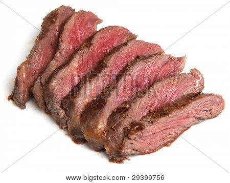 Chargrilled fillet steak sliced