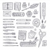 Drawing Accessories Outline Vector Set. Doodle Color Drawing Supplies For School And Office With Pen poster