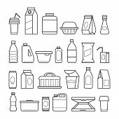 Food Package Icons. Meal Packaging, Eating Packs, Nutrition Meat Sachet Cases And Plastic Beverage C poster
