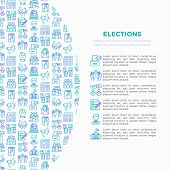 Election And Voting Concept With Thin Line Icons: Voters, Ballot Box, Inauguration, Corruption, Deba poster