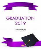 Graduation 2019 Invitation Design. Graduation Hat With Gold Tassel And Violet Ribbons. Illustration  poster